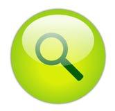 Icona verde vetrosa di ricerca Fotografia Stock