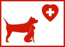 Icona veterinaria con l'animale domestico Fotografie Stock