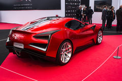 Icona Vulcano red. PARIS - JANUARY 30  Icona Vulcano, Concept cars exposition on February 30, 2014 at Les Invalides museum in Paris, France Royalty Free Stock Images