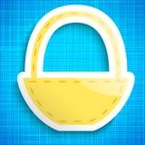 Icona vuota del canestro di picnic sul fondo blu del panno Fotografia Stock
