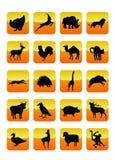 Icone 01 degli animali Immagini Stock