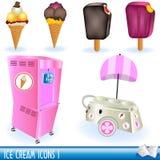 Icone 1 del gelato Fotografie Stock Libere da Diritti
