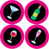 Icone 2 dell'alcool Fotografia Stock