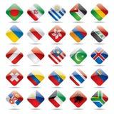 Icone 3 della bandierina del mondo Immagine Stock