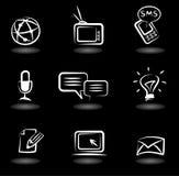 Icone 5 di comunicazione Fotografia Stock Libera da Diritti