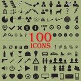 100 icone Fotografia Stock