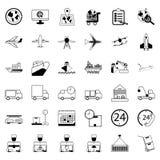 36 icone Acquisto di consegna ed insieme di logistica di commercio elettronico del outli Fotografie Stock