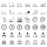 36 icone Acquisto di consegna ed insieme di logistica di commercio elettronico del outli Fotografia Stock Libera da Diritti