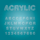 Icone acriliche del carattere di numeri e di alfabeti, vecto tipografico illustrazione vettoriale