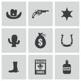 Icone ad ovest selvagge nere di vettore messe Fotografia Stock Libera da Diritti