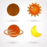 Icone aeree del sistema solare di stile Fotografie Stock Libere da Diritti