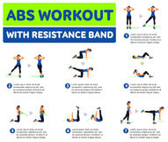 Icone aerobiche Allenamento dell'ABS Fotografia Stock Libera da Diritti