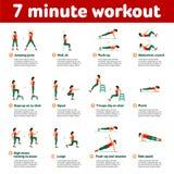 Icone aerobiche allenamento minuto 7 Fotografia Stock Libera da Diritti