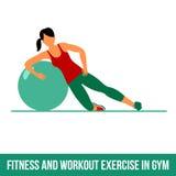 Icone aerobiche Esercizio della palla fotografie stock