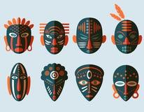 Icone africane della maschera Fotografia Stock