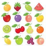 icone al gusto di frutta di Retro-stile Immagine Stock