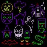 Icone al neon di Halloween Fotografie Stock