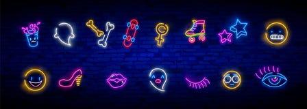 Icone al neon messe nello stile comico di Pop art 80s-90s Distintivi e perni della toppa con i personaggi dei cartoni animati, l' illustrazione di stock
