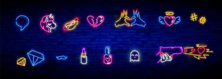 Icone al neon messe nello stile comico di Pop art 80s-90s Distintivi e perni della toppa con i personaggi dei cartoni animati, l' illustrazione vettoriale