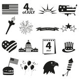 Icone americane di celebrazione di festa dell'indipendenza messe Fotografie Stock Libere da Diritti