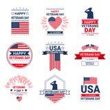 Icone americane nazionali messe, raccolta di festa di celebrazione di giornata dei veterani della cartolina d'auguri con la bandi illustrazione di stock