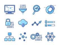 Icone analitiche di dati messe illustrazione di stock