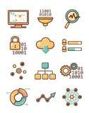 Icone analitiche di vettore di dati messe illustrazione di stock