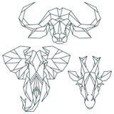 Icone animali africane, insieme dell'icona di vettore Stile triangolare astratto Fotografie Stock