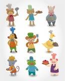 Icone animali del cuoco unico del fumetto impostate Immagini Stock