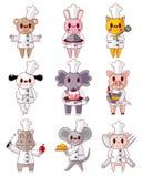 Icone animali del cuoco unico del fumetto impostate Immagine Stock