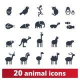 Icone animali della siluetta del fumetto sveglio illustrazione vettoriale