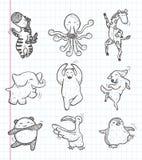 Icone animali di ballo di scarabocchio Immagini Stock Libere da Diritti