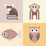 Icone animali di vettore Fotografie Stock