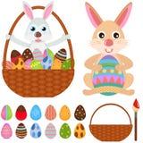 Icone animali di vettore: Coniglietto del coniglio con l'uovo di Pasqua Fotografia Stock Libera da Diritti