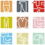 Icone animali quadrate Fotografia Stock