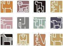 Icone animali quadrate Fotografia Stock Libera da Diritti