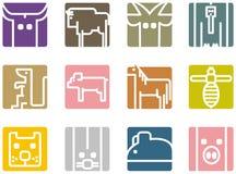 Icone animali quadrate Fotografie Stock