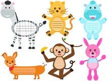 Icone animali sveglie/etichetta/contrassegno Fotografia Stock Libera da Diritti