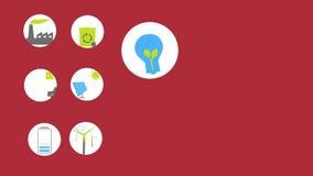 Icone animate e fondo di energia verde per la vostra presentazione o film Spazio per testo a destra, ciclo da 15 secondo illustrazione di stock