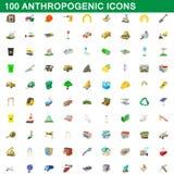 100 icone antropogeniche messe, stile del fumetto Immagini Stock