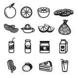 Icone arancio del prodotto e della frutta messe Fotografia Stock Libera da Diritti