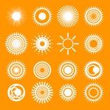 Icone arancio della raccolta di Sun Immagine Stock