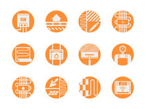 Icone arancio rotonde dei modelli caldi del pavimento messe Fotografia Stock