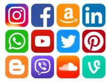 Icone arrotondate dei media sociali Fotografie Stock Libere da Diritti