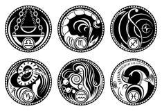 Icone arrotondate dello zodiaco Fotografia Stock Libera da Diritti