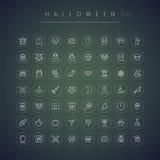 Icone arrotondate sottili di Halloween messe Fotografia Stock