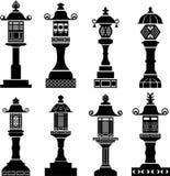 Icone asiatiche della lanterna Immagine Stock Libera da Diritti
