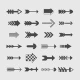 Icone assortite delle frecce di direzione della siluetta messe Fotografia Stock