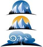 Icone astratte della montagna Fotografie Stock Libere da Diritti