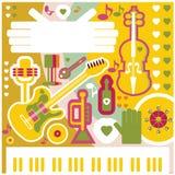 Icone astratte di musica del collage dell'illustrazione del fondo di musica Immagini Stock Libere da Diritti